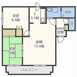北海道札幌市中央区南十二条西9丁目の賃貸アパートの間取り