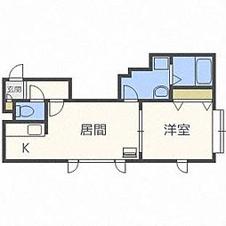 北海道札幌市東区北十八条東9丁目の賃貸アパートの間取り