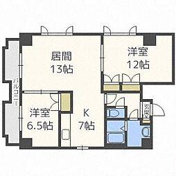 北海道札幌市中央区南十一条西1丁目の賃貸マンションの間取り