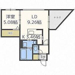 北海道札幌市中央区南二十二条西6丁目の賃貸マンションの間取り