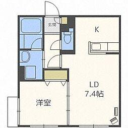 札幌市電2系統 西線9条旭山公園通駅 徒歩3分の賃貸マンション 4階1LDKの間取り