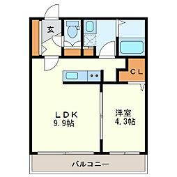 仮)北19東2MS 4階1LDKの間取り