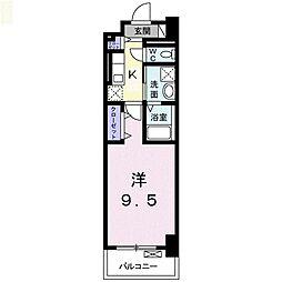 ヴィラージュ新横浜 5階1Kの間取り