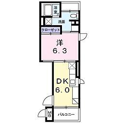 ルル オブ アワジプログレッソ 3階1DKの間取り
