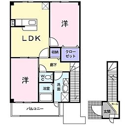 ベルセレーノ弐番館 2階2LDKの間取り
