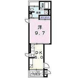 小田急江ノ島線 湘南台駅 徒歩15分の賃貸マンション 2階1DKの間取り