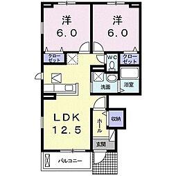 プリムラ 1階2LDKの間取り
