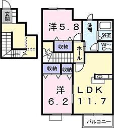 リバーサイドハウスH&N−B 2階2LDKの間取り