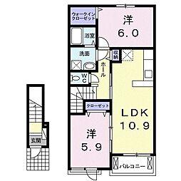 アズール ライト 2階2LDKの間取り