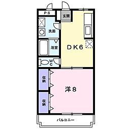 ローフィルド 4階1DKの間取り