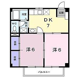 レーベンハイム 2階2DKの間取り