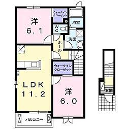 シャンティA 2階2LDKの間取り