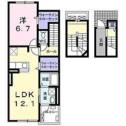 ドミール南仙台 3階1LDKの間取り
