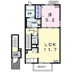 レジデンス羽島 2階1LDKの間取り