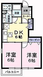 エトワールII 1階2DKの間取り