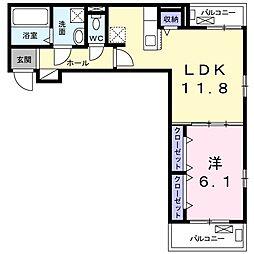 ベル ルミエール 2階1LDKの間取り