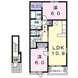 サンエスポアールVI 2階2LDKの間取り