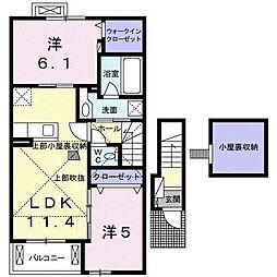 リブロン倉敷 2階2LDKの間取り