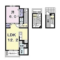 フロール南彦根 3階1LDKの間取り