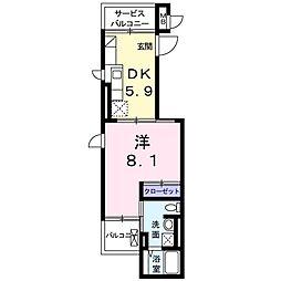 ラ・ルミエール湘南 1階1DKの間取り