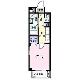 近鉄南大阪線 針中野駅 徒歩4分の賃貸マンション 3階1Kの間取り