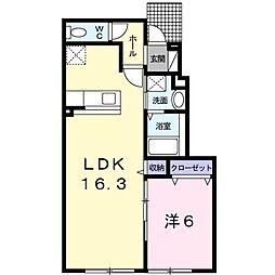 アティード 1階1LDKの間取り