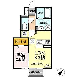 ヴィラージュ松屋 1階1LDKの間取り