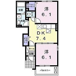 ベル・メゾンII 1階2DKの間取り