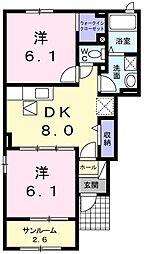 フルーツパーク富里館C 1階2DKの間取り