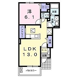JR宇野線 備前西市駅 徒歩38分の賃貸アパート 1階1LDKの間取り