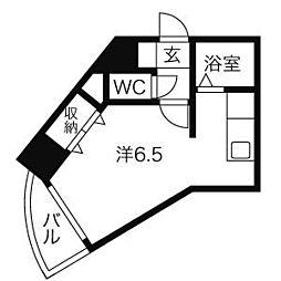 HF国分寺レジデンス 4階ワンルームの間取り