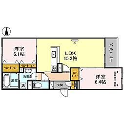 北大阪急行電鉄 桃山台駅 バス12分 阪急バス 熊野町西下車 徒歩3分の賃貸アパート 2階2LDKの間取り
