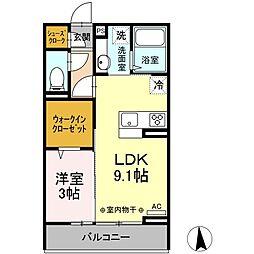 (仮)D-room小屋北 2階1LDKの間取り