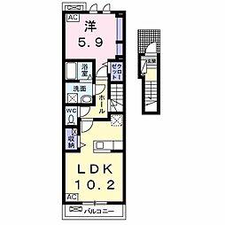 ディベル ティード 2階1LDKの間取り