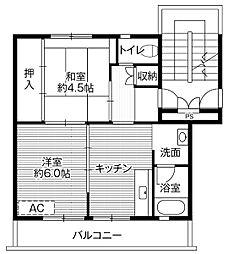 ビレッジハウス好間1号棟 4階2DKの間取り