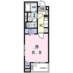 プロムナード桂川 4階1Kの間取り