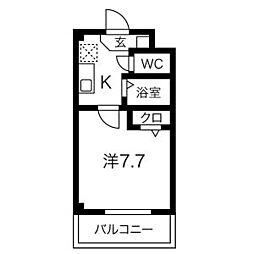 メゾンボー隅田II 1階1Kの間取り