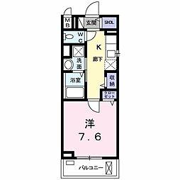 JR中央線 八王子駅 徒歩17分の賃貸マンション 1階1Kの間取り