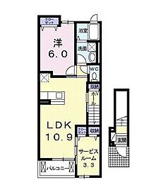 カルム大岩 2階2LDKの間取り