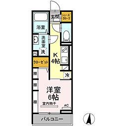 仮称)D-room東朝日町 3階1Kの間取り