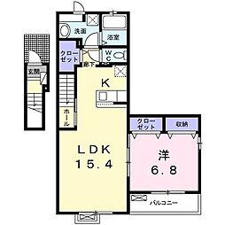 ルポガーデン 2階1LDKの間取り