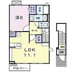 クレール・ファミーユII 2階1LDKの間取り