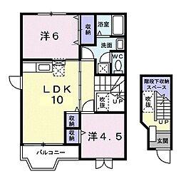 ファーテェィルアースIIC 2階2LDKの間取り