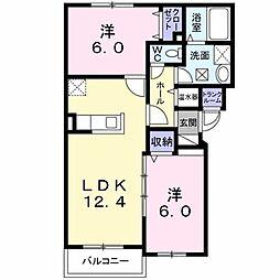 ヴェントル−チェ 3階2LDKの間取り