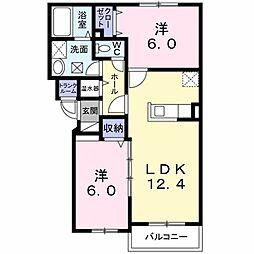 ヴェントル−チェ 4階2LDKの間取り