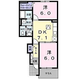リバ- イ-スト 1階2DKの間取り
