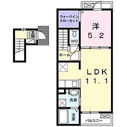 セントラルヒルズA 2階1LDKの間取り