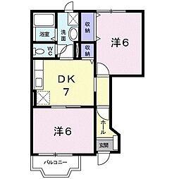 プリムローズヒル 1階2DKの間取り