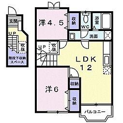 ソルフィ- E 2階2LDKの間取り