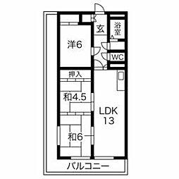 プレアール喜多 4階3LDKの間取り